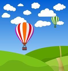 Cartoon Retro Air Balloon On Blue Sky and Green vector image vector image