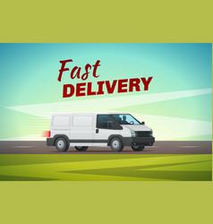 delivery truck or van for transportation design vector image