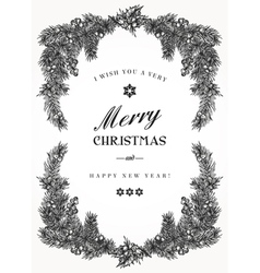 Vintage Christmas frame with pine branches vector image