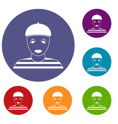 clown icons set vector image vector image