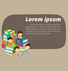 cute boy and girl reading book vector image