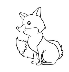 hand drawn fox cartoon- vector image