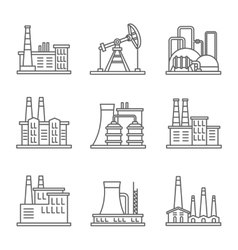 Heavy industry power plant and factory thin line vector image vector image