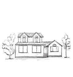 House sketch Hand drawn landscape vector image vector image