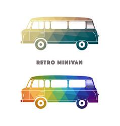 retro colorful minivan vector image