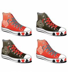 shoes with poker symbol vector image vector image