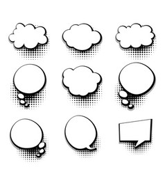 collection blank template comic text speech bubble vector image