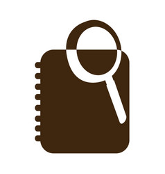 silhouette magnifying glass with notebook with vector image