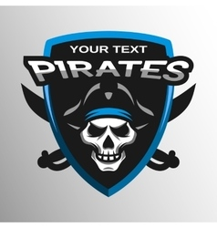 Skull pirates and swords Sport emblem vector image vector image