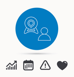 video chat icon webcam chatting sign vector image
