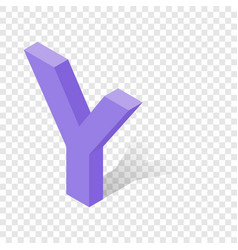 y letter in isometric 3d style with shadow vector image