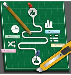 Business infographic paper cut style with pencil vector