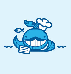 cartoon whale chief with a mustache vector image