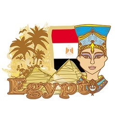 Egyptian queen cleopatra on the background of the vector image