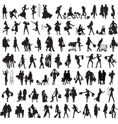 set of silhouettes of shoppers vector image vector image