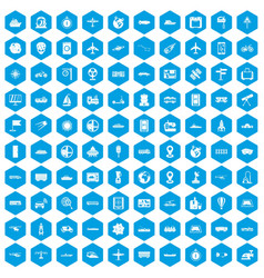 100 technology icons set blue vector