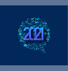 2021 new year business technology set application vector image