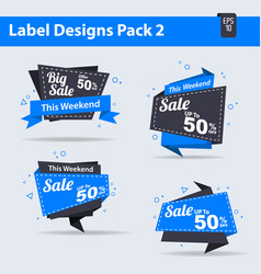 4 sale label design pack 2 sales tag sign vector image