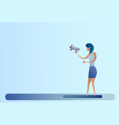 Abstract business woman hold megaphone loudspeaker vector