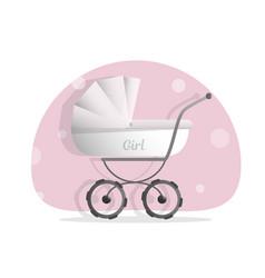 baby stroller for girls isolated on white vector image