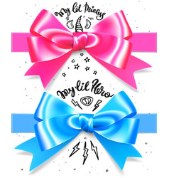 Babyboy and babygirl shiny gift bow blue and pink vector
