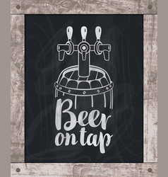 Beer barrel drawing chalk on board in wooden frame vector