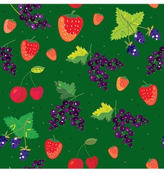 Berries seamless pattern - strawbery blackberry vector image