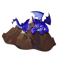 big fabulous blue dragon embracing stone mountain vector image