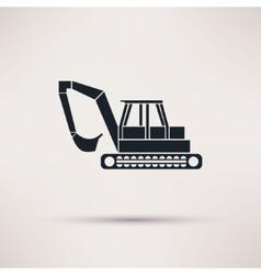 black Excavator icon on light background vector image