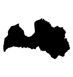 Black silhouette country borders map of latvia on vector