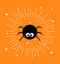 Black spider insect sunburst round line circle vector