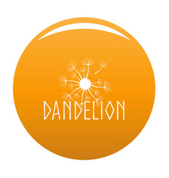Blooming dandelion logo icon orange vector