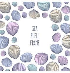 border shell frame hand drawn seashells vector image