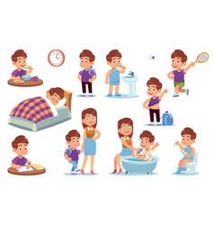 Boy routine kid daily activities little child vector