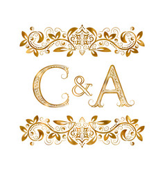 c and a vintage initials logo symbol letters c vector image