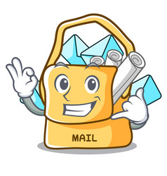 Call me mail bag character on table front vector