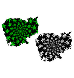 Cambodia - map is designed cannabis leaf vector