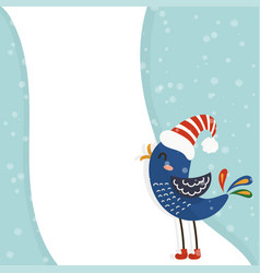 Cartoon for holiday theme with bird on winter vector