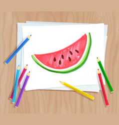 child drawing of watermelon vector image