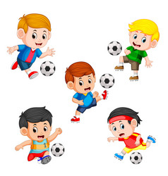 collection of soccer children player vector image