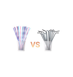 colorful drinking plastic disposable vs metal vector image