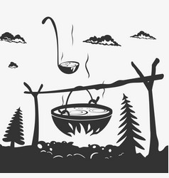 cooking food in a pot on nature vector image