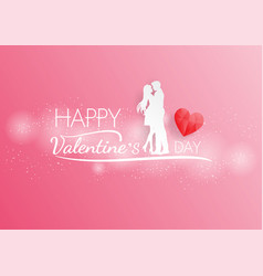 couple love hug on pink backgroundpaper art and vector image