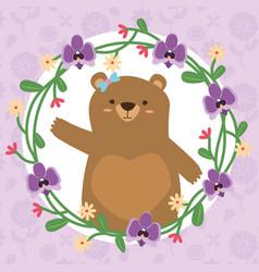 cute bear wreath vector image