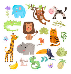 Cute set safari animals and flowers savanna vector