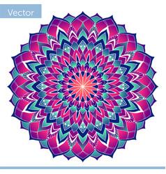 Decorative color mandala on white oriental motif vector