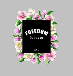 design t-shirt with magnolia flowers and slogan vector image