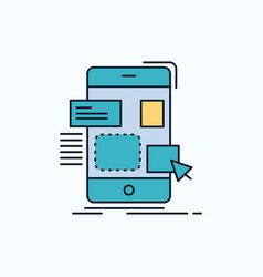 Drag mobile design ui ux flat icon green and vector