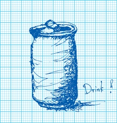 drawing of soda can on graph paper vector image
