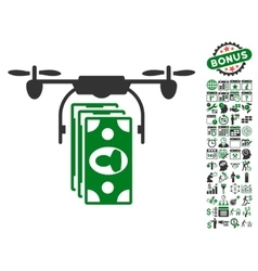 Drone Banknotes Payment Icon With Bonus vector image
